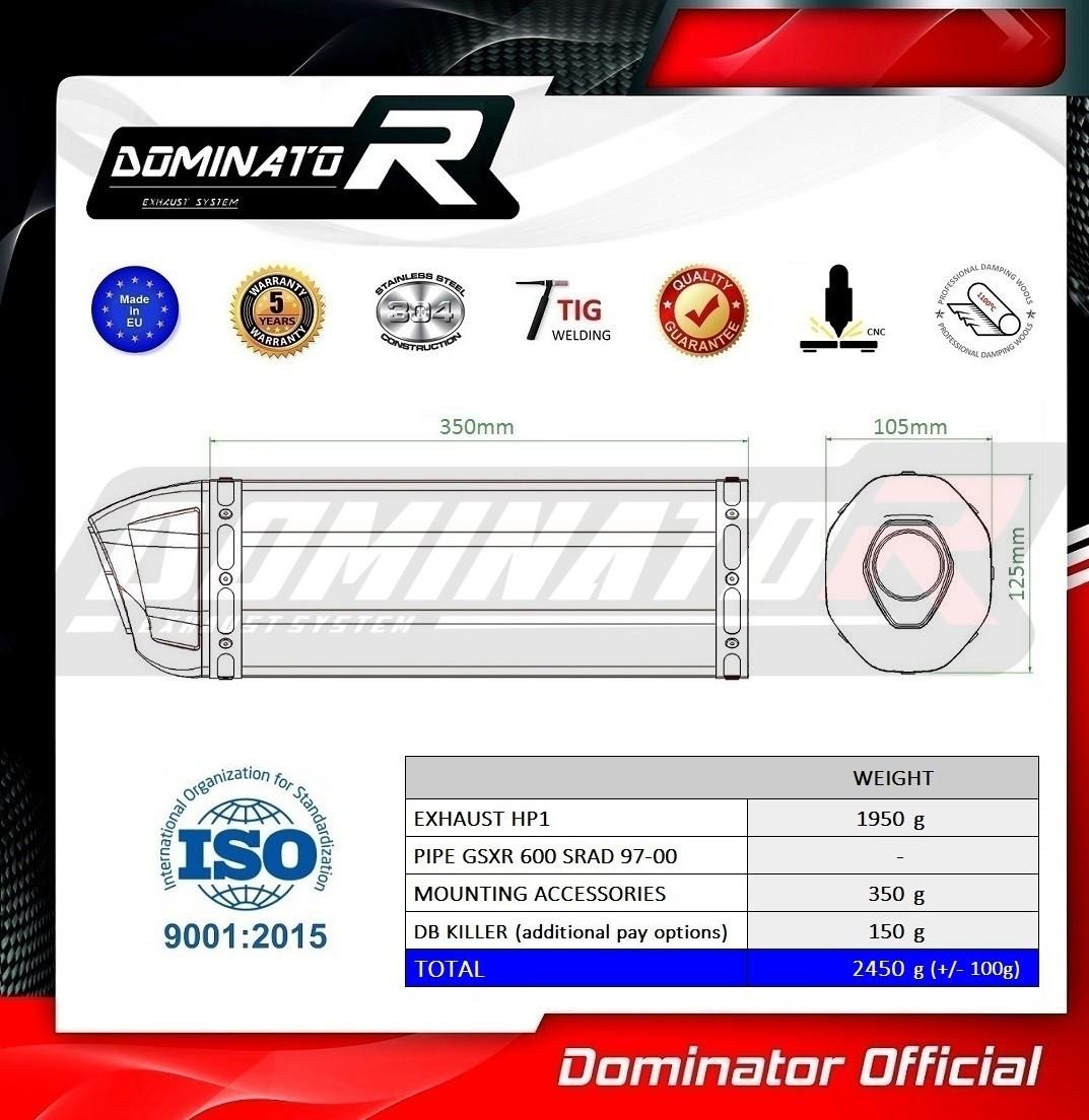 DB KILLER GP I Dominator Exhaust Silencieux /échappement SUZUKI GSXR 600 SRAD 97-00