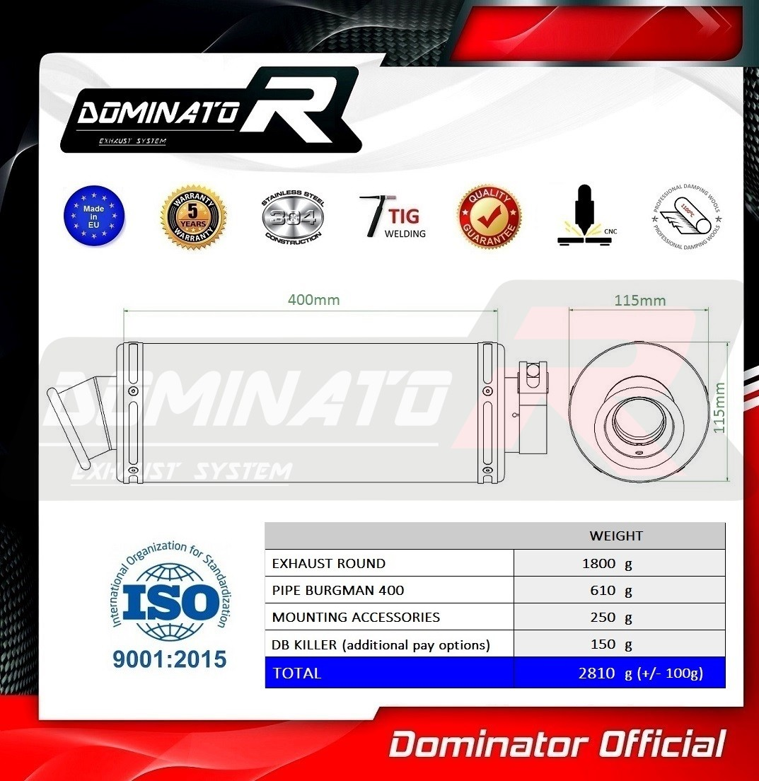 Exhaust silencer muffler Dominator ROUND compatible with BURGMAN 400 07-16 2007-2016 DB KILLER